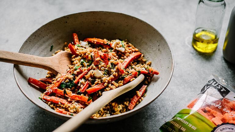 warm carrot and barley salad