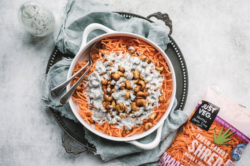grated carrot salad with curried cashews and mint yoghurt dressing